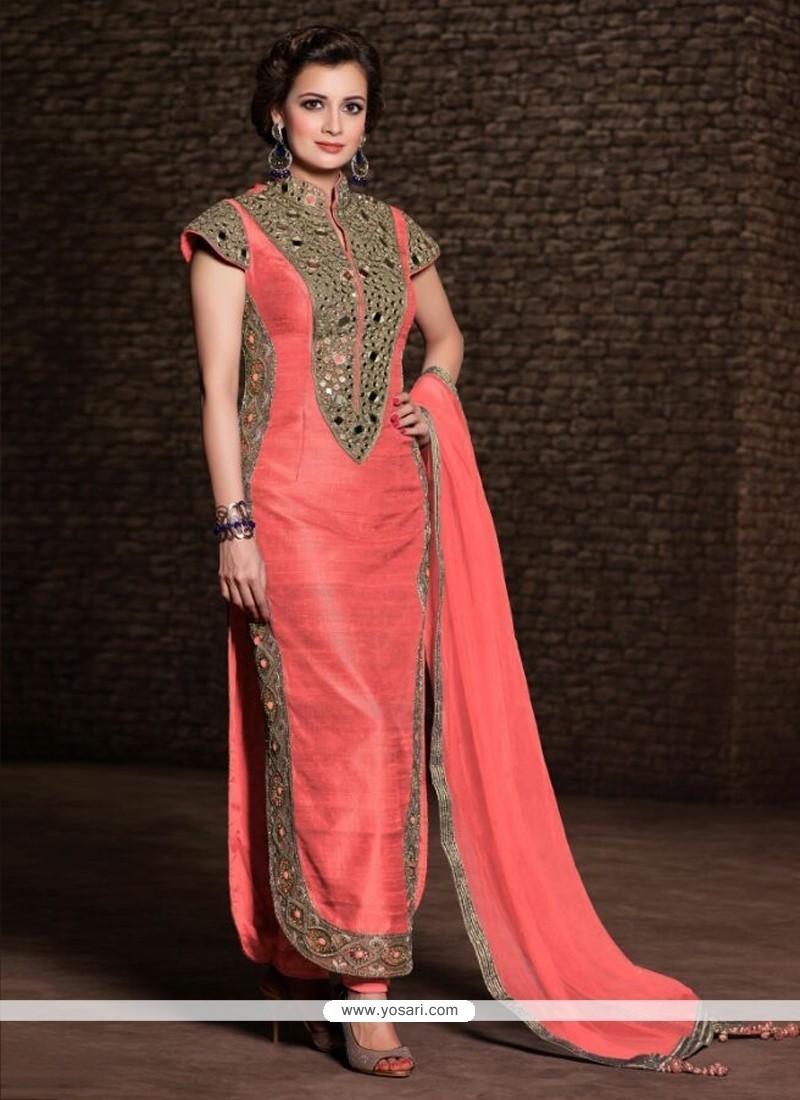 Diya Mirza Pink Banarasi Silk Churidar Salwar Kameez
