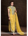 Diya Mirza Yellow Banarasi Silk Churidar Suit