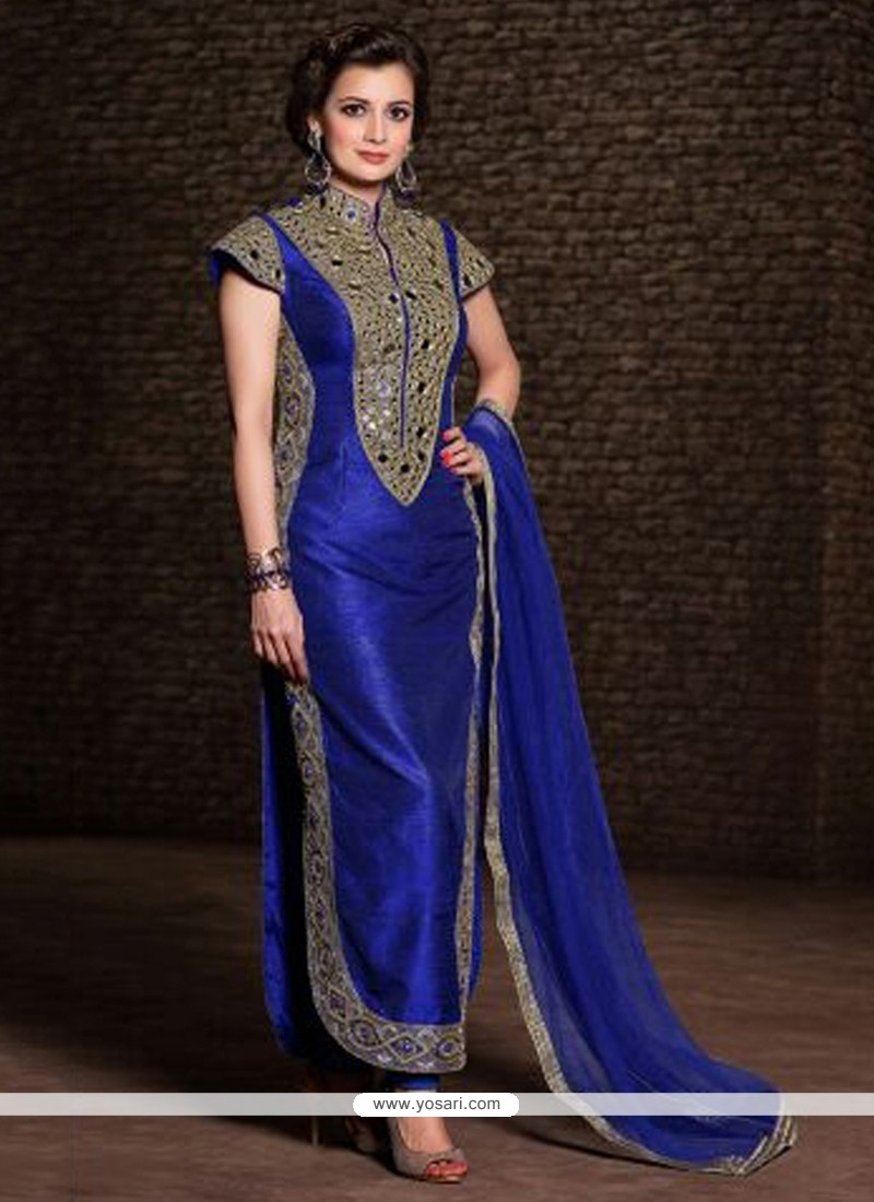 Diya Mirza Blue Banarasi Silk Churidar Salwar Suit