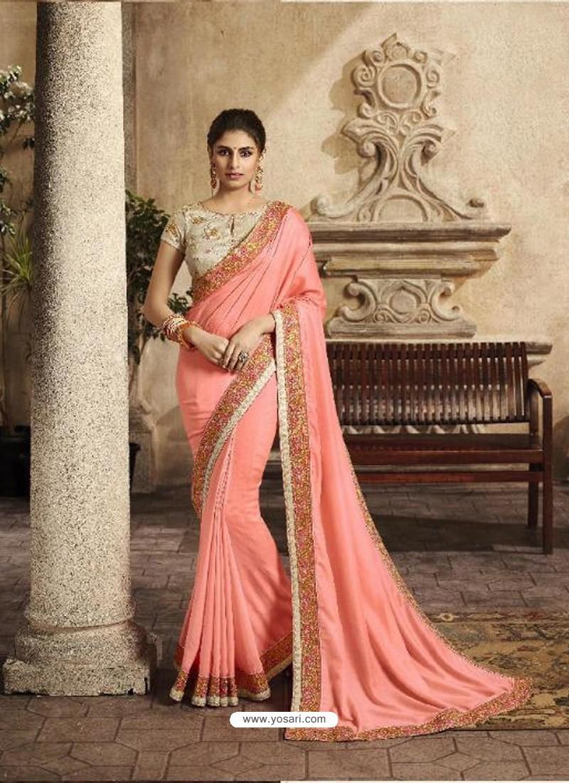 a3a71734191dd Buy Peach Art Silk Embroidery Party Wear Saree