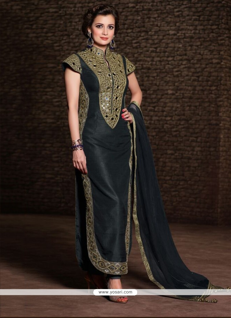 Diya Mirza Black Banarasi Silk Churidar Suit