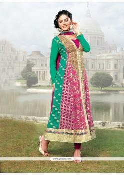 Pink And Green Zari Work Churidar Salwar Kameez