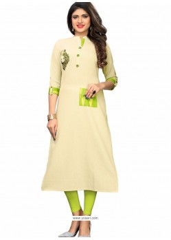 Off White Flax Cotton Embroidered Kurti