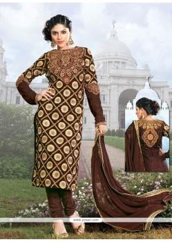 Dazzling Brown Georgette Churidar Salwar Suit