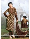 Dazzling Brown Georgette Churidar Salwar Suit