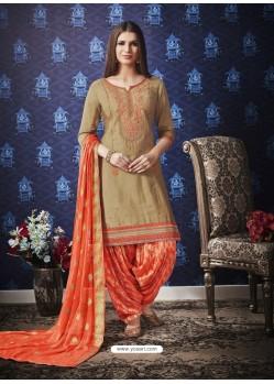 Beige And Orange Jam Silk Cotton Embroidered Salwar Suit