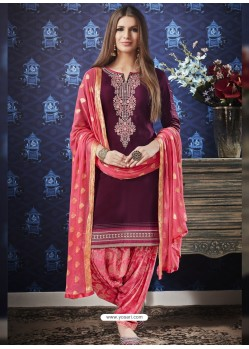 Deep Wine And Pink Jam Silk Cotton Embroidered Salwar Suit