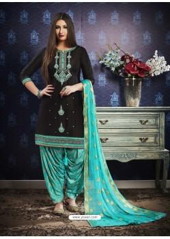 Black And Sky Blue Jam Silk Cotton Embroidered Salwar Suit