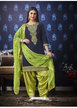Navy And Green Jam Silk Cotton Embroidered Salwar Suit