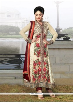 Fab Cream Georgette And Jacquard Churidar Suit