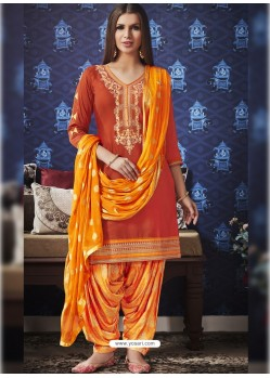 Orange Jam Silk Cotton Embroidered Salwar Suit
