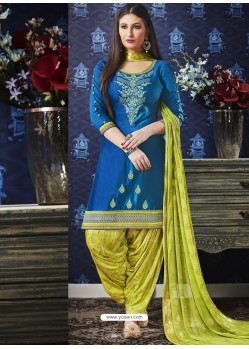 Peacock Blue And Green Jam Silk Cotton Embroidered Salwar Suit