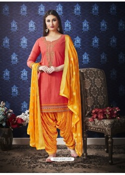 Peach And Yellow Jam Silk Cotton Embroidered Salwar Suit