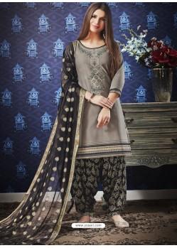 Grey And Black Jam Silk Cotton Embroidered Salwar Suit
