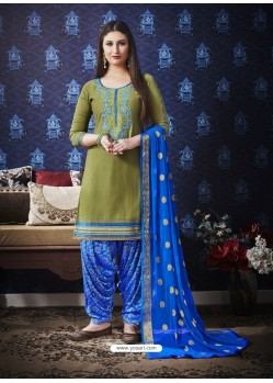 Mehendi And Royal Blue Jam Silk Cotton Embroidered Salwar Suit