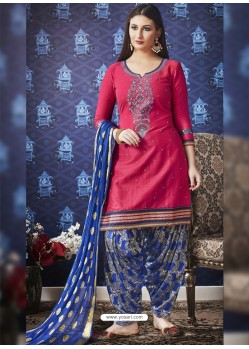 Crimson And Blue Jam Silk Cotton Embroidered Salwar Suit