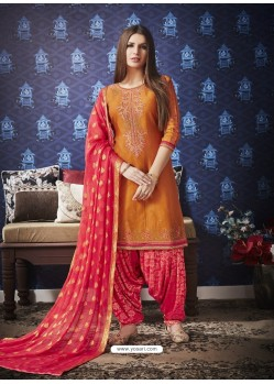 Rust And Red Jam Silk Cotton Embroidered Salwar Suit