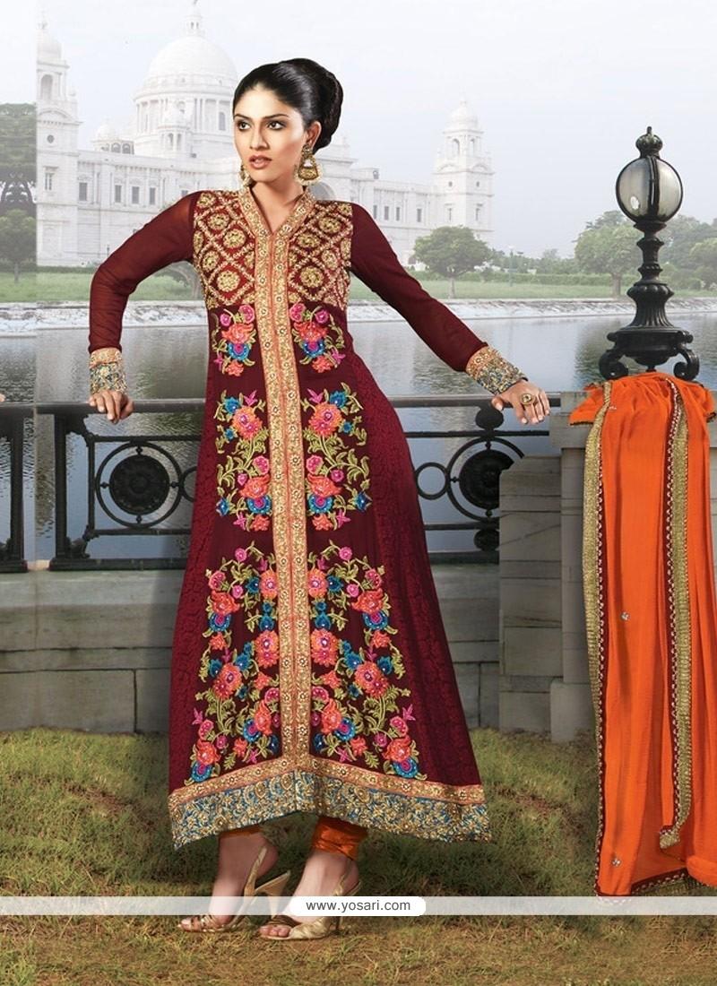 Fab Maroon Jacquard Churidar Suit