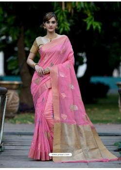 Light Pink Banarasi Silk Zari Worked Designer Saree