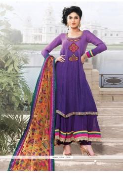 Purple Georgette And Jacquard Anarkali Suit
