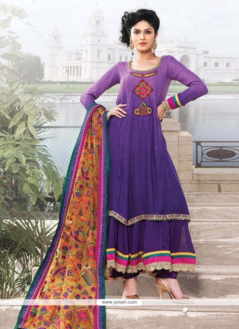 Purple Georgette And Jacquard Anarkali Suit