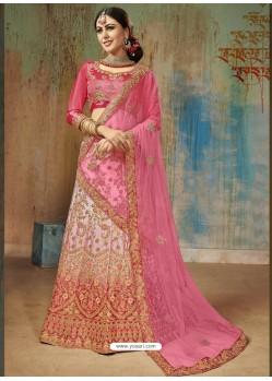 Light Pink Satin Silk Heavy Embroidered Designer Lehenga Choli