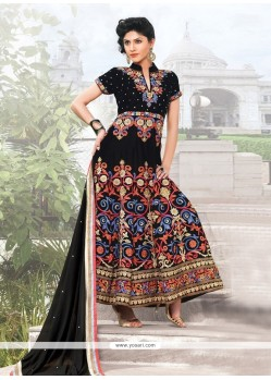 Splendid Black Velvet Anarkali Suit