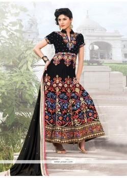 Splendid Black Velvet Anarkali Suit