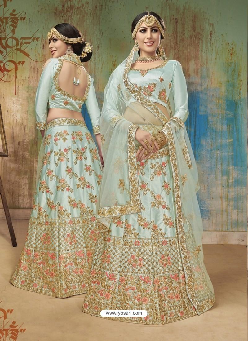 461d7ca881 Buy Latest Sea Green Satin Silk Heavy Embroidered Designer Lehenga ...