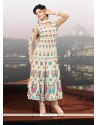 Gambling Cream Embroidery Work Anarkali Suit