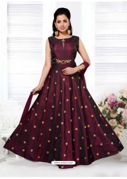 Deep Scarlet Tafeta Designer Party Wear Gown