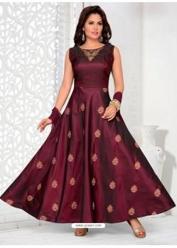 Maroon Tafeta Designer Party Wear Gown