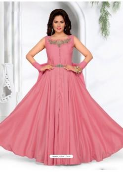 Light Pink Malai Silk Designer Party Wear Gown
