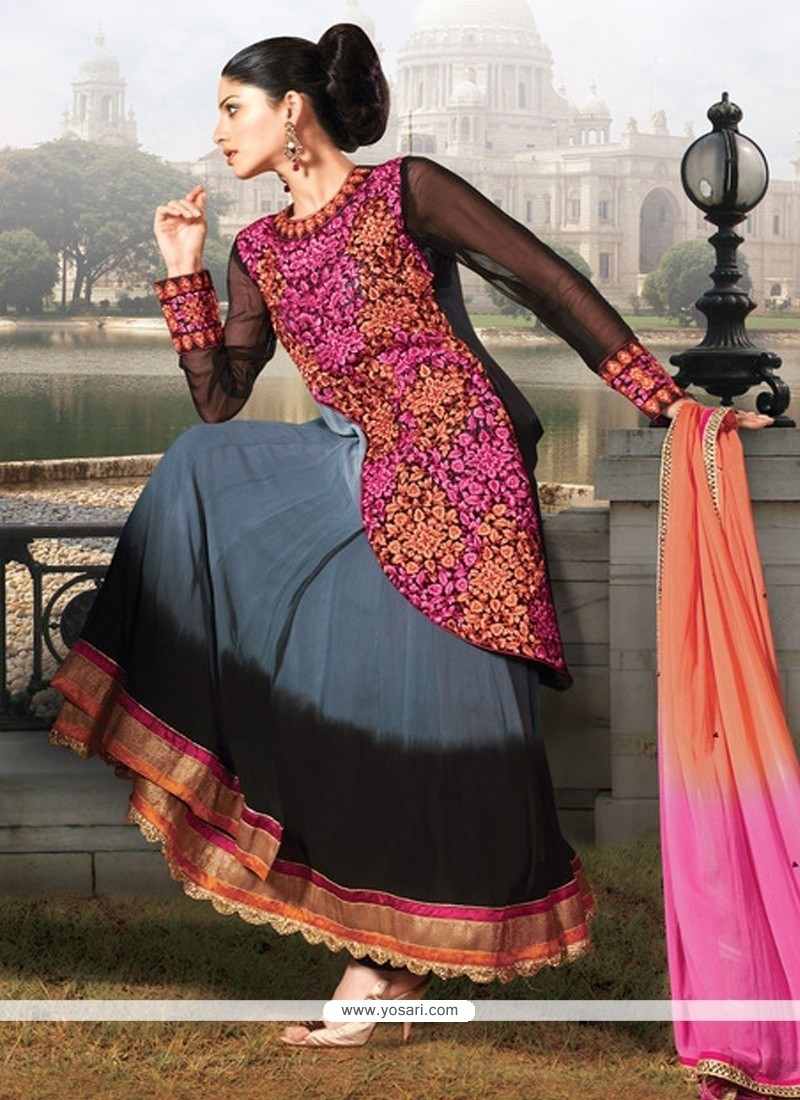 Grey And Black Georgette Anarkali Suit
