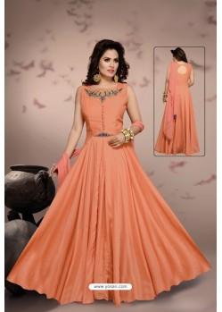 Orange Malai Silk Designer Party Wear Gown