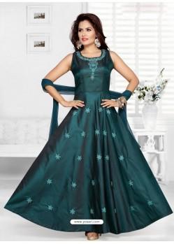 Teal Blue Tafeta Designer Party Wear Gown