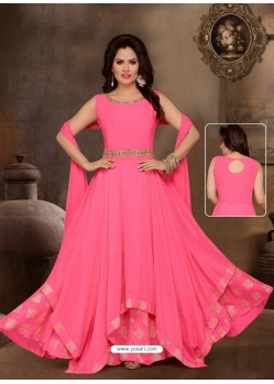 Fuchsia Malai Silk Designer Party Wear Gown