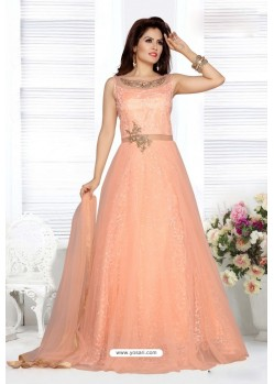 Light Orange Embroidery Net Designer Party Wear Gown