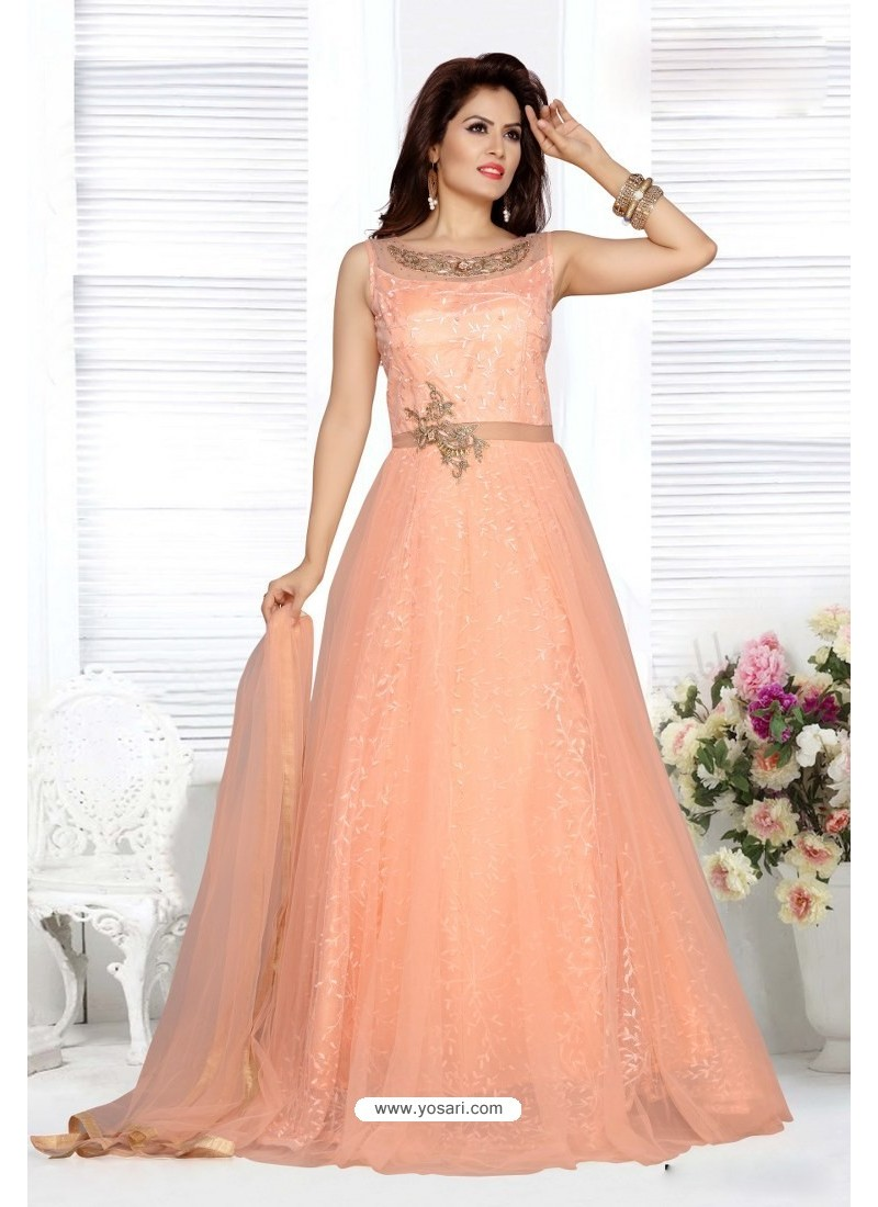 df0d417113e Buy Light Orange Embroidery Net Designer Party Wear Gown