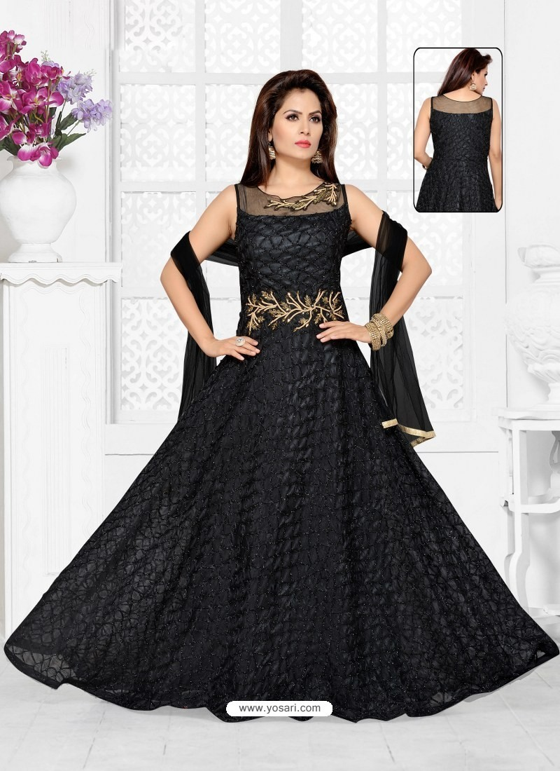 8fdc0c435b8 Buy Black Imported Net Designer Party Wear Gown