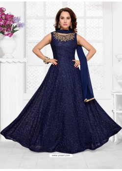 Navy Blue Imported Net Designer Party Wear Gown