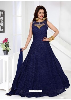 Gorgeous Navy Imported Net Designer Party Wear Gown