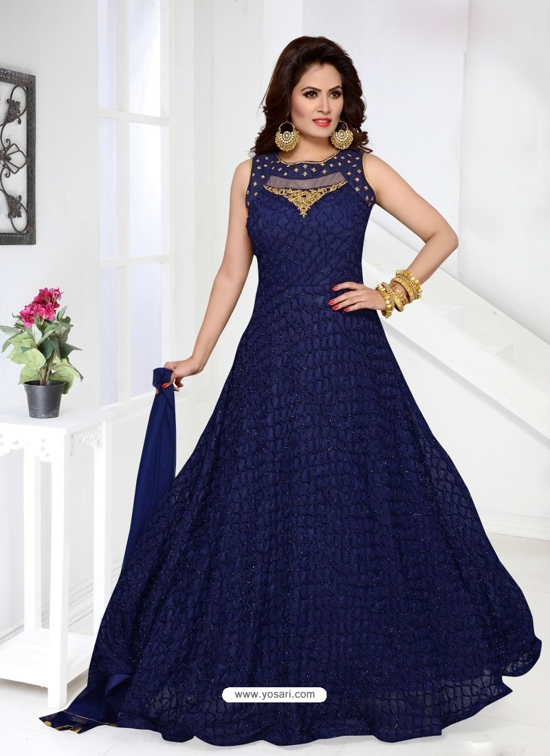 2732dcf2c24 Buy Gorgeous Navy Imported Net Designer Party Wear Gown