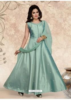 Grayish Green Tafeta Designer Party Wear Gown