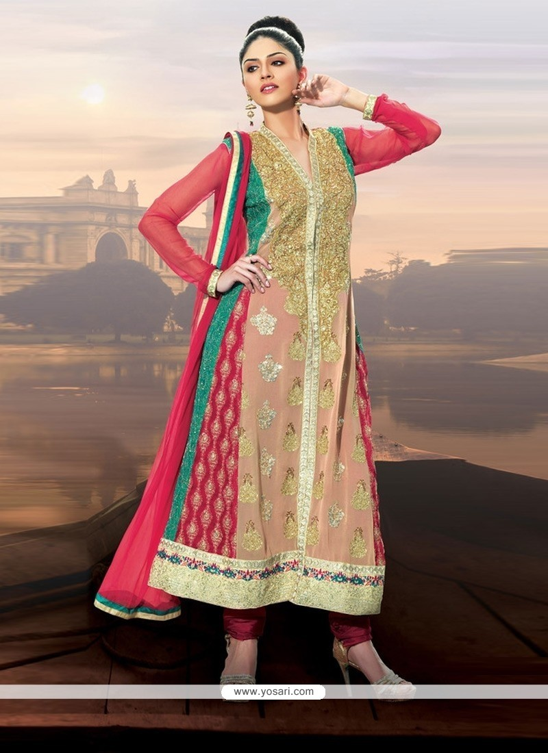 Cream And Pink Embroidery Churidar Suit