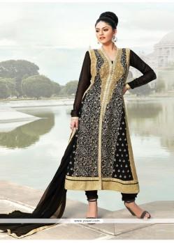 Black Georgette Zari Work Churidar Suit