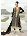 Black Georgette Zari Work Churidar Suit