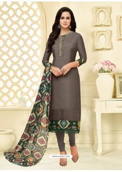 Stunning Carbon Chanderi Cotton Embroidered Churidar Suit