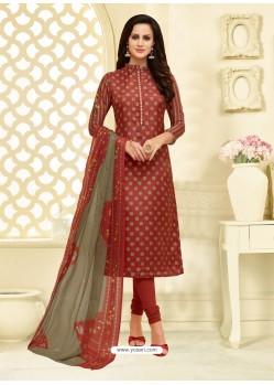 Maroon Chanderi Cotton Embroidered Churidar Suit