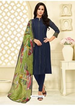 Pretty Navy Blue Chanderi Cotton Embroidered Churidar Suit